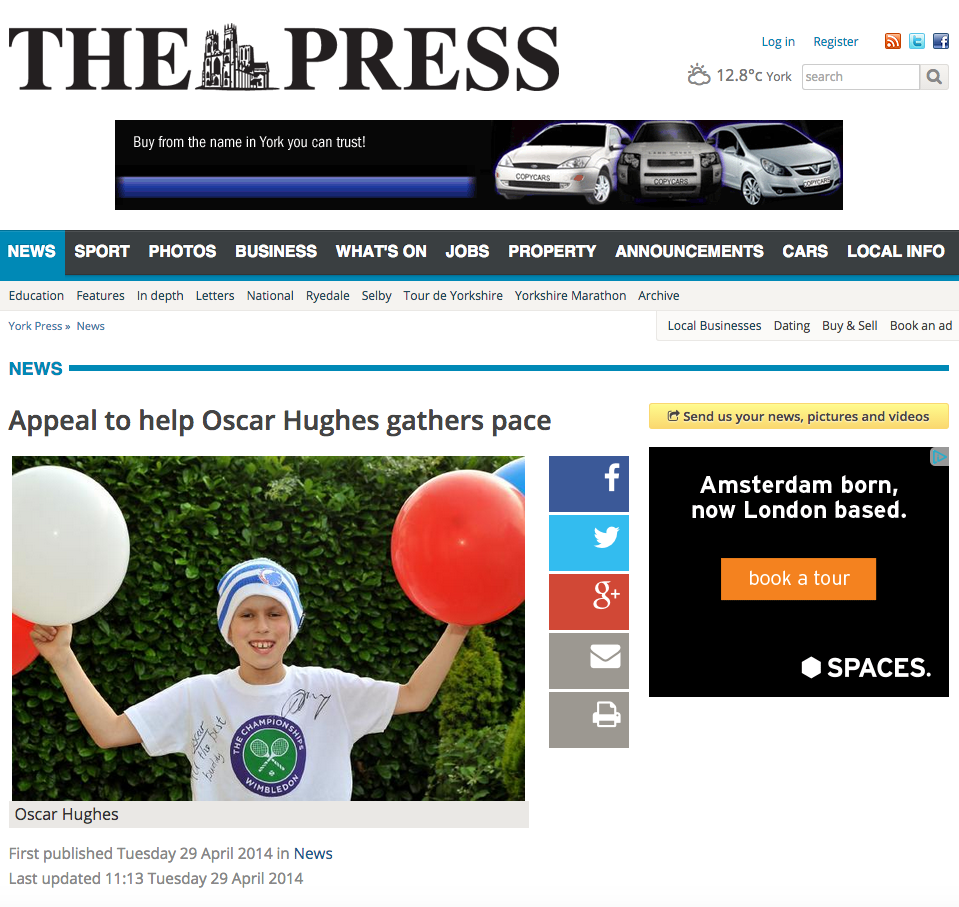 Appeal to help Oscar Hughes gathers pace