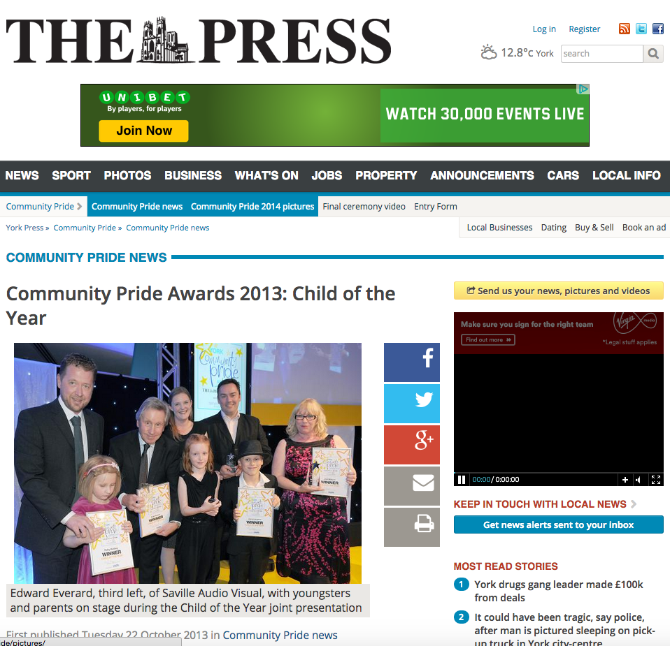 Community Pride Awards 2013 Child of the Year