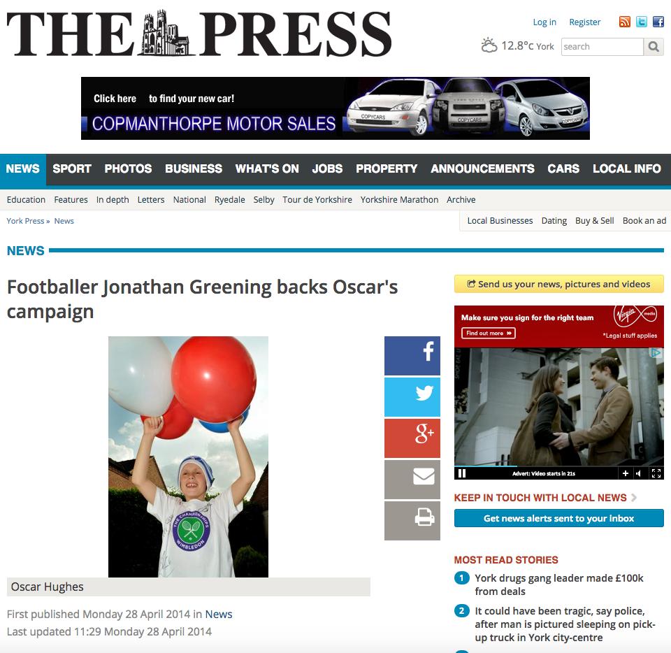 Footballer Jonathan Greening backs Oscar's campaign