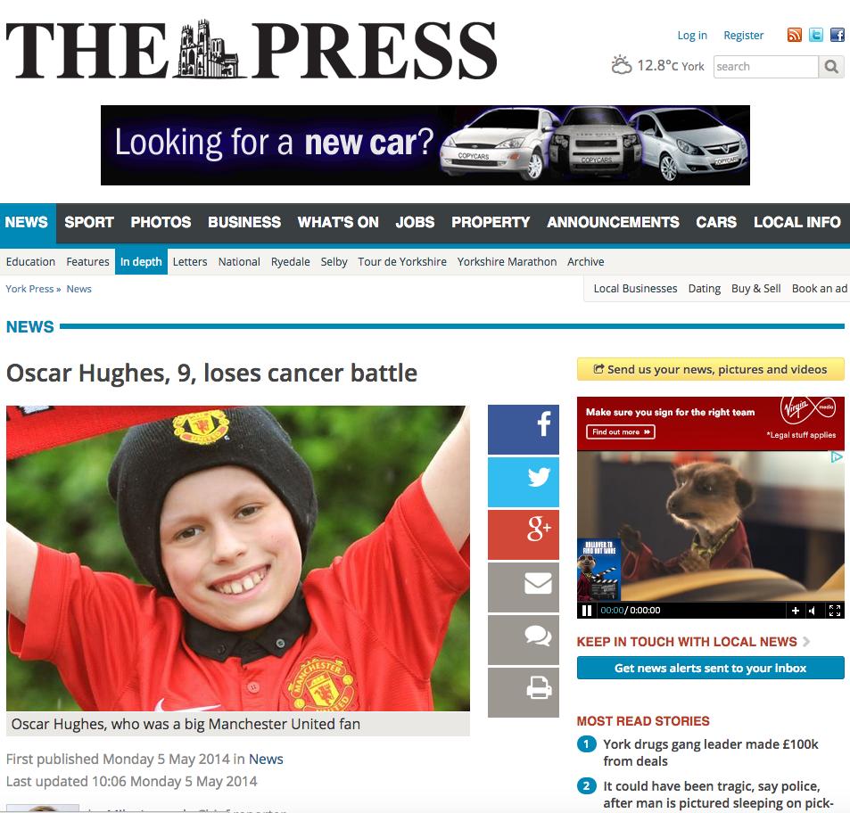 Oscar Hughes, 9, loses cancer battle