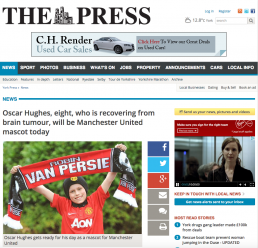 Oscar Hughes, eight, who is recovering from brain tumour, will be Manchester United mascot today