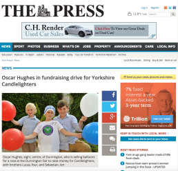 Oscar Hughes in fundraising drive for Yorkshire Candlelighters
