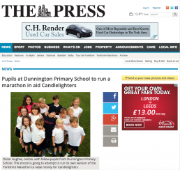 Pupils at Dunnington Primary School to run a marathon in aid Candlelighters