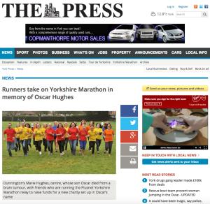 Runners take on Yorkshire Marathon in memory of Oscar Hughes