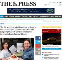 The Pig and Pastry in Bishopthorpe Road to hold a brunch ro raise funds for OSCAR's (Ongoing Support, Care And Research) Paediatric Brain Tumour Charity