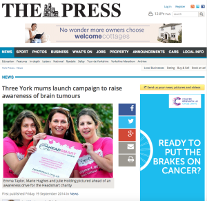 Three York mums launch campaign to raise awareness of brain tumours