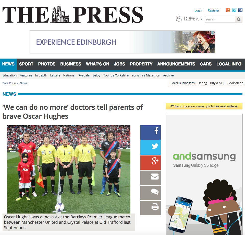'We can do no more' doctors tell parents of brave Oscar Hughes