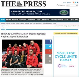 York City's Andy McMillan organising Oscar Hughes appeal fundraiser