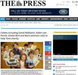 Celebs including David Walliams, Robin van Persie, Dickie Bird and Boris Johnson rally to help York charity